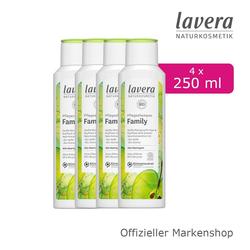 lavera Duschcreme, 4-tlg., Pflegeshampoo Set Family Shampoo mit Bio-Apfel & Bio-Quinoa