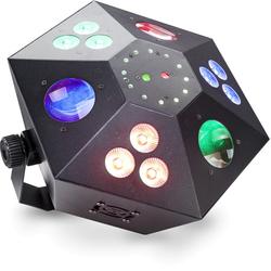 Multieffekt Box mit Laser in rot und grün, 3 Color-Wash, Stroboskop und LED-Blume