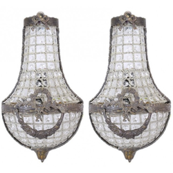 Casa Padrino Barock Wandleuchten Set Kristall Oxide - Wandlampe Wand Beleuchtung