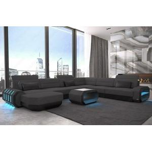 Sofa Wohnlandschaft Polster Couch ROMA XXL Mikrofaser Schwarz Eck Stoffcouch LED