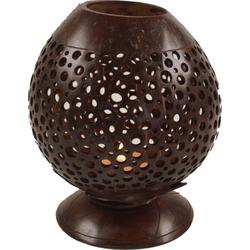 Guru-Shop Windlicht Dekoleuchte aus gravierter Kokosnuß - Modell 5