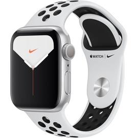 Apple Watch Nike Series 5 (GPS) 40mm Aluminiumgehäuse Silber, Nike Sportarmband Pure Platinum/Schwarz