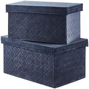 Aufbewahrungsbox, 2er Set ¦ blau ¦ Samt, Pappe ¦ Maße (cm): B: 20 H: 16 T: 20