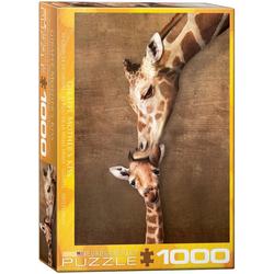 empireposter Puzzle Giraffe mit Baby - der erste Kuss - 1000 Teile Puzzle Format 68x48 cm., 1000 Puzzleteile