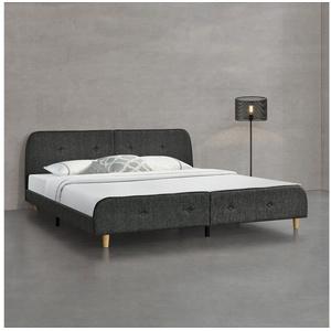 en.casa Polsterbett, Silkeborg 180x200cm Doppelbett Ehebett Bett mit Lattenrost Leinen Dunkelgrau grau 186 cm x 209 cm x 80 cm
