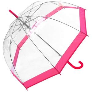 Susino Regenschirm Glocke/Dome transparent für Damen – Automatisches Öffnungssystem – großer Schutz mit Durchmesser 100 cm – windfest – Rand rosa – Susino