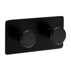 Ambrosya Handtuchhaken Selbstklebender Handtuchhalter aus schwarzem Edelstahl Halter Handtuch Haken Handtuchhaken Klebehaken Klebend Bad WC Küche, ohne Bohren 1 x 2