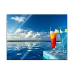 Bilderdepot24 Glasbild, Glasbild - Cocktail am Swimmingpool 60 cm x 40 cm