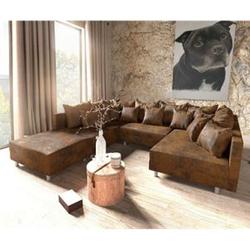 Couch Clovis Braun Vintage Optik mit Hocker Wohnlandschaft Modulsofa