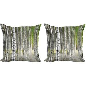 ABAKUHAUS Birke Kissenbezug Set (2Stück), Spätsommer-Laub, doppelseitiges Digitaldruckdekor mit Reißverschluss, 50 cm, Grün Hellgrau Schwarz