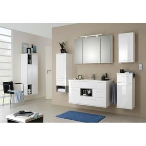 Badezimmermöbel Badmöbel Set 7 Teilige Weiß Hochglanz LED Beleuchtung MONTIERT