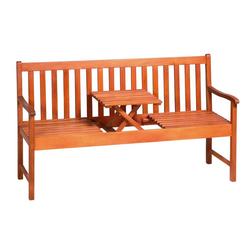 Deuba Bank Picknick, FSC®-zertifiziertes Eukalyptusholz hochklappbarer Tisch Holzbank Sitzbank Garten Bank Möbel