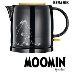 MOOMIN Wasserkocher 19130009 Wasserkocher by ADEXI Keramikwasserkocher, schwarze Keramik mit weißen Mumin-Figuren auf einer Seite, 1 Liter, 1 l, 2025 W