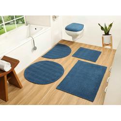 Badematte Badesache COUCH♥, Höhe 4 mm, Badgarnitur, 100% Baumwolle, COUCH Lieblingsstücke blau 2-tlg. Hänge-WC Set