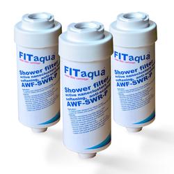 3x Duschfilter FitAqua, Wasserfilter zum Wohle Ihrer Haut AWF-SWR-P
