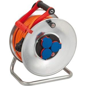 Brennenstuhl Garant S IP44 Kabeltrommel (40m Kabel in orange, Kabeltrommel Outdoor mit Trommelkörper aus Stahlblech, für den Einsatz im Außenbereich, Made in Germany) 1198470 Silber