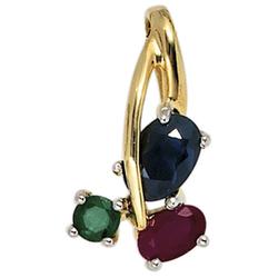 JOBO Kettenanhänger, 585 Gold bicolor mit Rubin Safir Smaragd