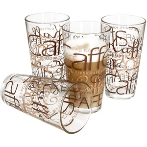 4er Set Latte Macchiato Glas 39cl stapelbar Coffee Dekor