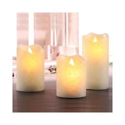 MARELIDA LED-Kerze 3er Set LED Echtwachs Kerzen mit bewegter Flamme und 4h/8h Timer