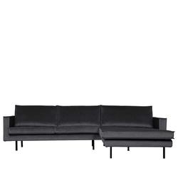 Sofa Eckgarnitur in Dunkelgrau Samt 300 cm breit