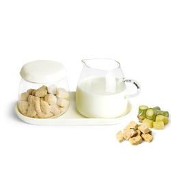 Sendez Milch- und Zuckerset Milchkännchen & Zuckerdose aus Glas und Porzellan Milchgiesser Zuckerspender