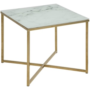 AC Design Furniture Ecktisch Antje, B: 50 x T:50 x H: 42 cm, Glas, Weiss