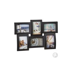 relaxdays Staffelbilderrahmen Bilderrahmen für mehrere Fotos schwarz