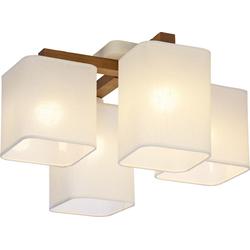 Licht-Erlebnisse Deckenleuchte IMALE Moderne Deckenleuchte Weiß gebürstetes Holz wohnlich eckig Flur Lampe