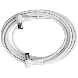 Axing Antennen Anschlusskabel [1x Antennenstecker 75Ω - 1x Antennenbuchse 75 Ω] 2.50m 85 dB Wei