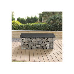 Pro-tec Gartenbank, Friesland WPC Gabionenbank 100x45x30cm Gabione als Gartenbank schwarz