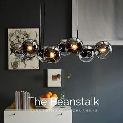 ZMH LED Pendelleuchte Glas Kugel Leuchte Pendellampe Hängellampe LED Wohnzimmerlampe Schlafzimmerleuchte Innenleuchte grau