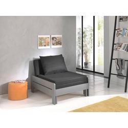 Vipack Einzelbett Pino, ausklappbar zum Gästebett grau