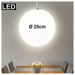 etc-shop LED Pendelleuchte, LED Pendelleuchte 7 Watt Hängelampe Wohnzimmer Opal-Kugel Design