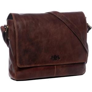 SID & VAIN Laptoptasche Messenger Bag echt Leder Spencer groß Businesstasche 15 Zoll Laptop Umhängetasche Laptopfach Ledertasche Herren braun