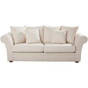 Landhaus-Sofa  weiß - Flachgewebe Olivia ¦ weiß