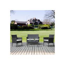 Merax Gartenmöbelset, rattan gartenmöbel set, 4-tlg., Polyrattan schwarz