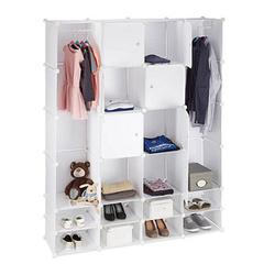 relaxdays Kleiderschrank transparent / weiß 20 Fachböden
