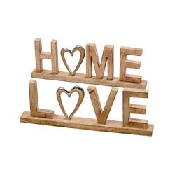Boltze Deko Aufsteller Home oder Love aus Mangoholz, 50 cm