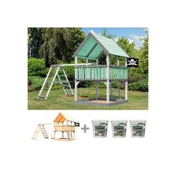 AKUBI Spielturm Piratenfestung Luis, BxTxH: 525x264x345 cm, inkl. Farbe