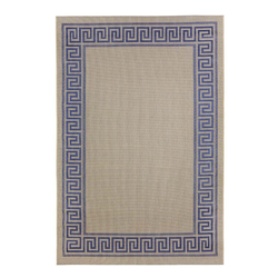 Outdoor Teppich Griechische Bordüre - Blau