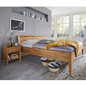 Einzelbett aus Wildeiche Massivholz Nachtkommode (2-teilig)