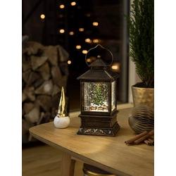 Konstsmide 4356-000 LED-Laterne Weihnachtsmarkt LED Messing beschneit, mit Wasser gefüllt, mit Scha
