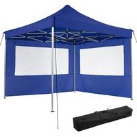 Tectake Faltpavillon 3 x 3 m inkl. 2 Seitenteile blau