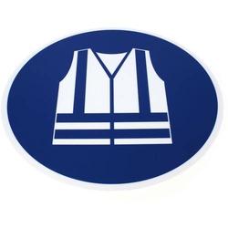 Sicherheitspiktogramm Warnweste tragen selbstklebend 430x375mm