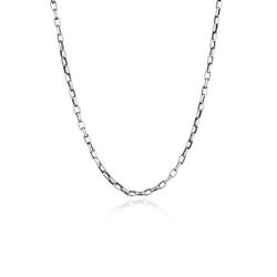 Kuzzoi Silberkette Herren Ankerkette Oval 925 Silber, Basic Kette schwarz 50 cm
