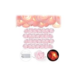 relaxdays Lichterkette 4x Rosen Lichterkette rosa