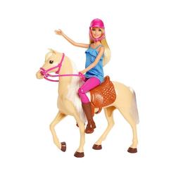 Mattel® Anziehpuppe Barbie® Pferd mit Puppe (blond), Anziehpuppe,