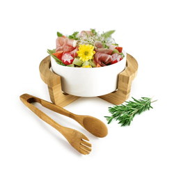 Sendez Salatschüssel Salatschale aus Porzellan inkl. Salatbesteck und Gestell Salatschüssel Schüssel, Porzellan