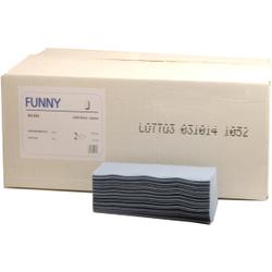 FUNNY Papierhandtücher, 21 x 22,5 cm, 2-lagig, blau, Zellstoffpapier, Zick-Zack-Falzung, 1 Karton = 4000 Blatt