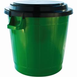 Universalbehälter (70 Liter) mit schwarzem Deckel, Durchmesser: 50 cm; Höhe inkl. Deckel: 54 cm, Behälterfarbe: grün
